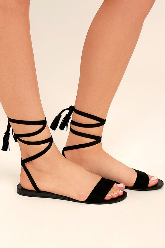 aa4928d6b70 Cute Black Sandals - Lace-Up Sandals - Flat Sandals -  18.00