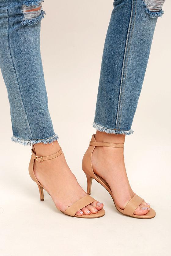Classic Natural Heels - Vegan Leather Heels - Ankle Strap Heels ...
