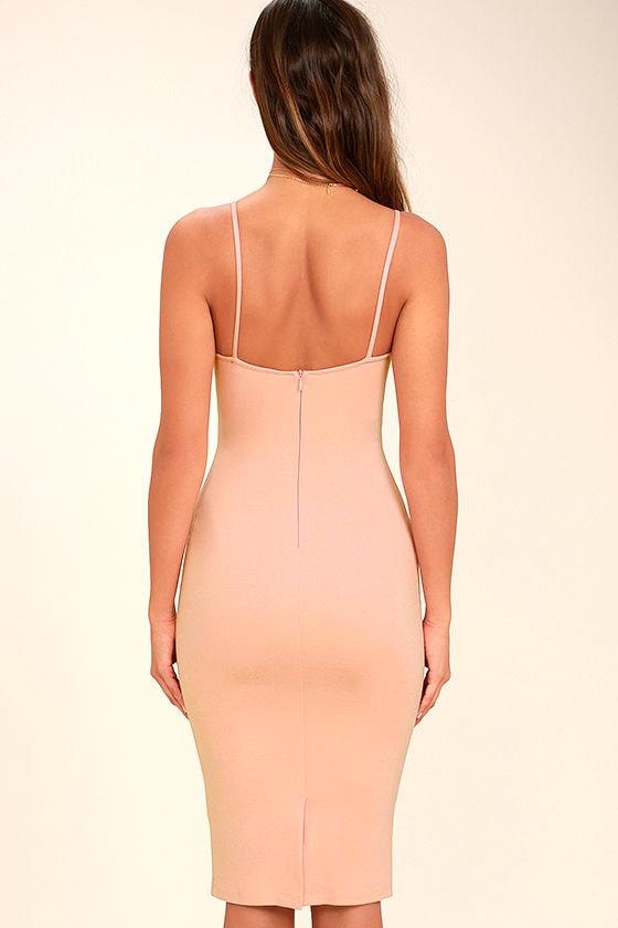 Don't Tell 'Em Blush Pink Bodycon Midi Dress 4