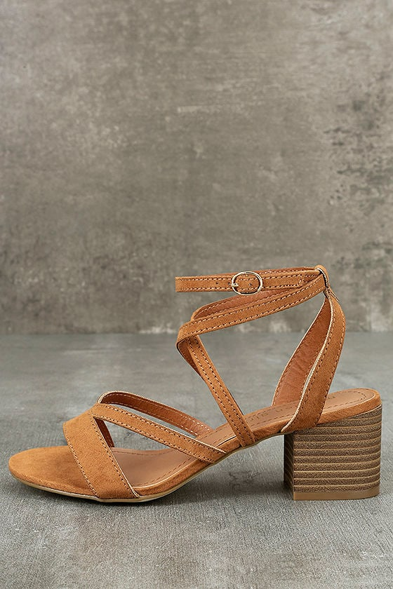 9b724c9c3 Madden Girl Leexi Chestnut- Vegan Suede Heels - High Heel Sandals -  49.00