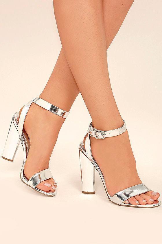 Steve Madden Treasure - Silver Heels - Ankle Strap Heels ...