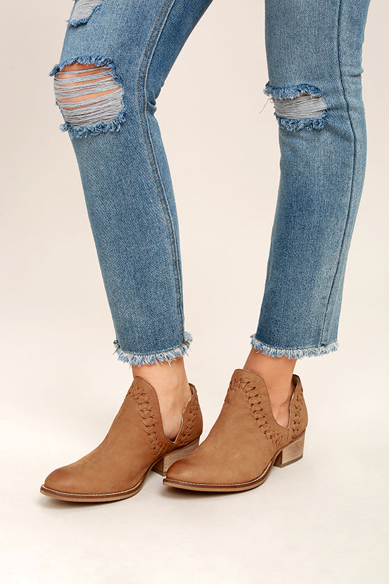 Rebels RB Cathy Tan Leather Cutout Booties 2