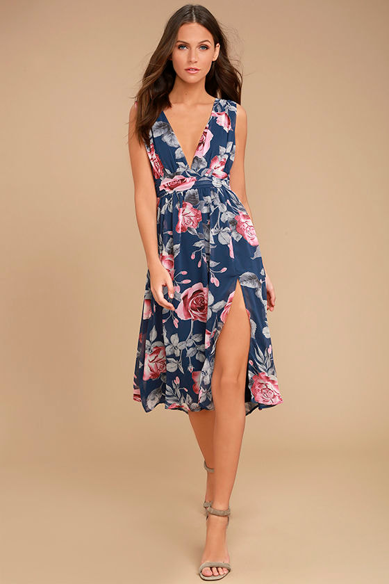 Queen of Hearts Navy Blue Floral Print Midi Dress 1