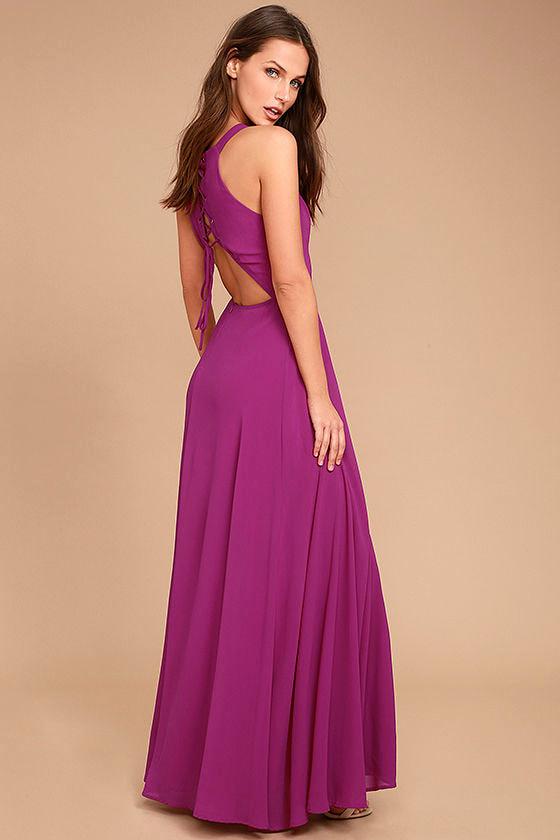 Super Starlet Magenta Lace-Up Maxi Dress 1