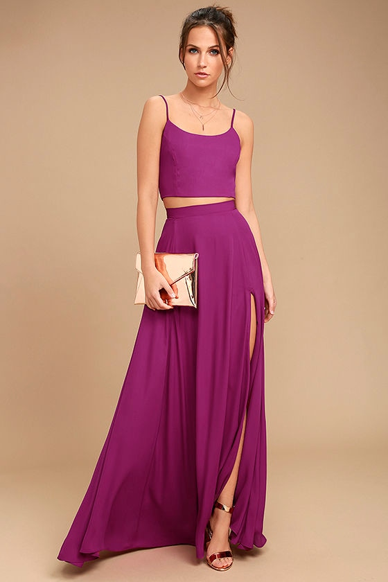 Chic Magenta Dress Two Piece Dress Maxi Dress 89 00