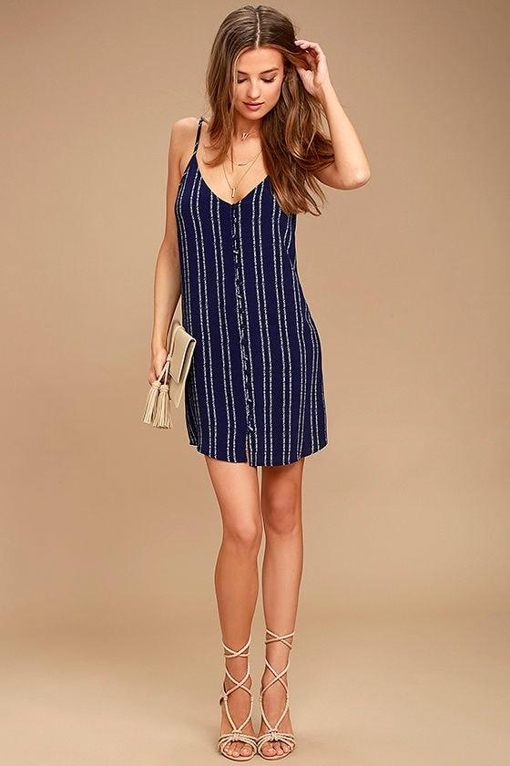 Stripe a Chord Navy Blue Striped Button-Up Dress 2