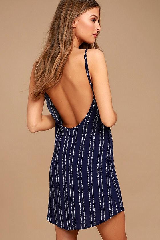 Stripe a Chord Navy Blue Striped Button-Up Dress 3