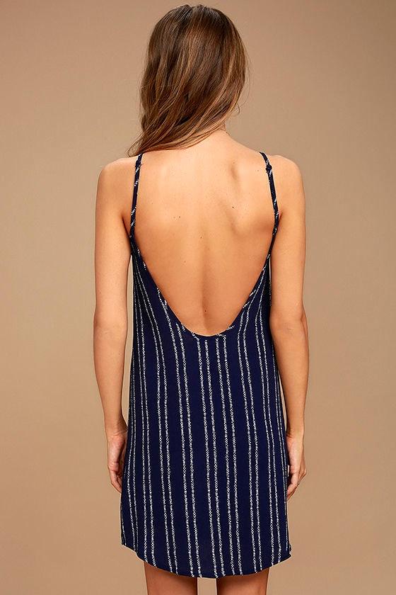 Stripe a Chord Navy Blue Striped Button-Up Dress 4