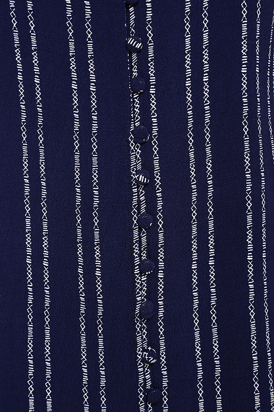 Stripe a Chord Navy Blue Striped Button-Up Dress 6