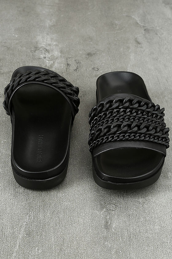Kendall + Kylie Shiloh Black Leather Slide Sandals 3