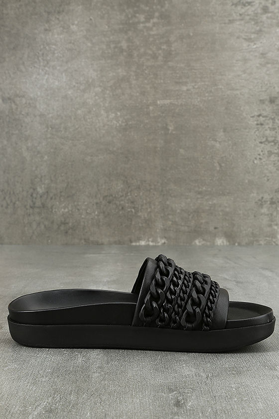 Kendall + Kylie Shiloh Black Leather Slide Sandals 4