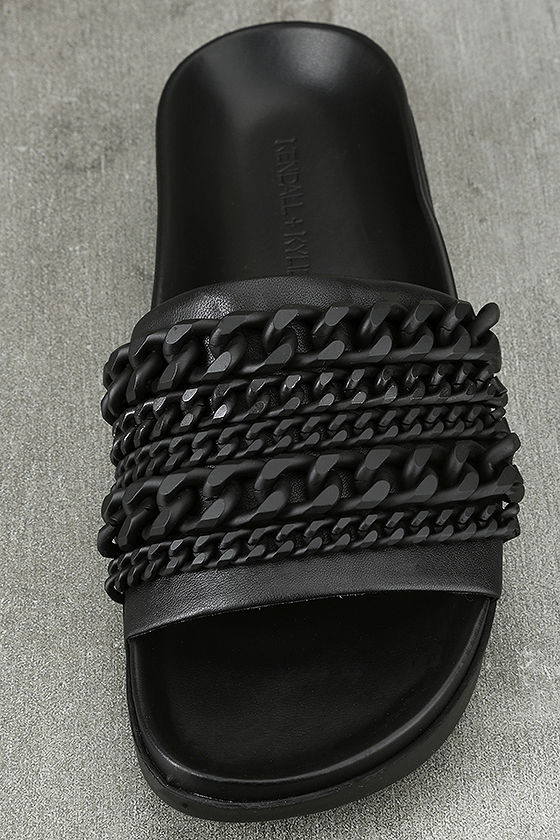 Kendall + Kylie Shiloh Black Leather Slide Sandals 5