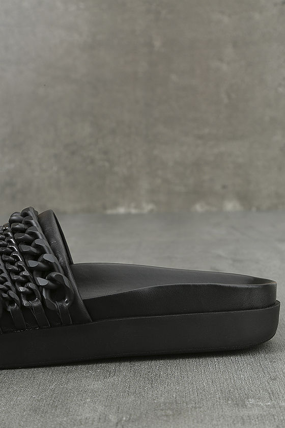 Kendall + Kylie Shiloh Black Leather Slide Sandals 7