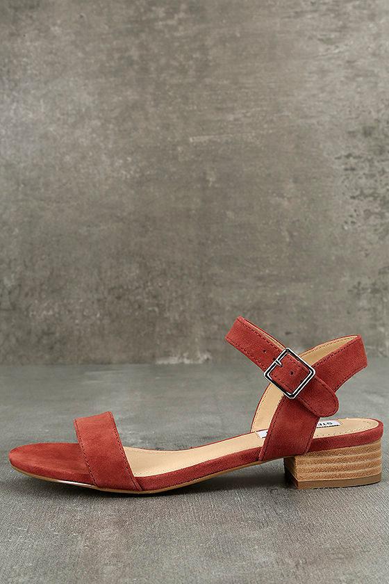 966dcd24d2fb Steve Madden Cache Sandals - Rust Sandals - Suede Leather Heels -  69.00