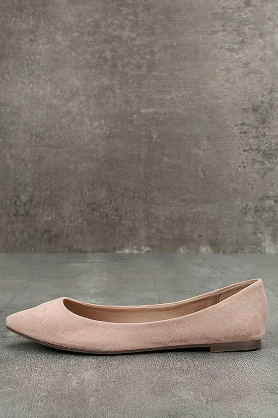 10a89247337 Cute Blush Flats - Vegan Suede Flats - Pointed Toe Flats -  21.00