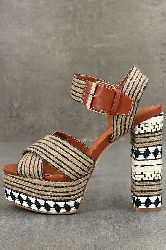 a9a3394fb6b Stylish Jute Platforms - Print Platform Sandals - Beige Platform Heels -   76.00