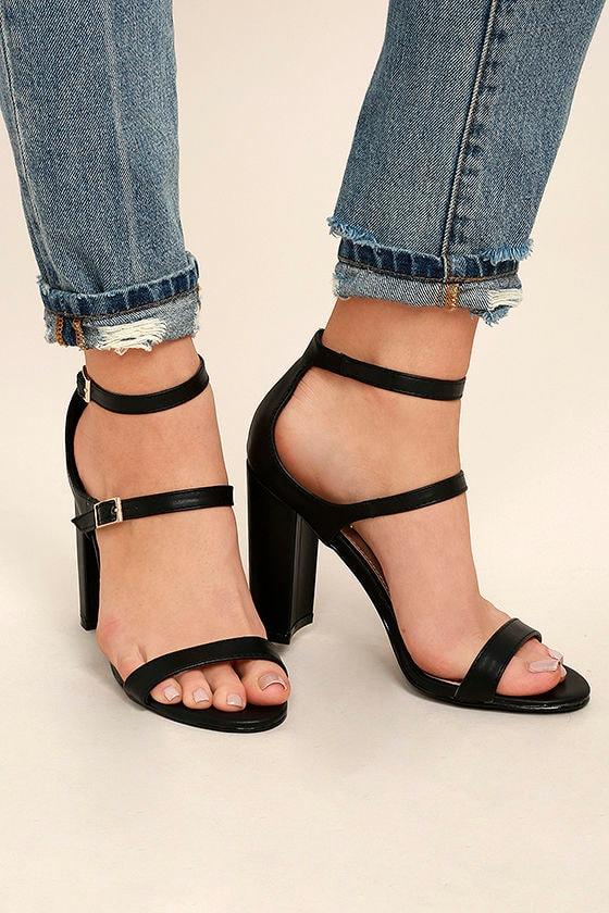 Shayndel Black Ankle Strap Heels 1