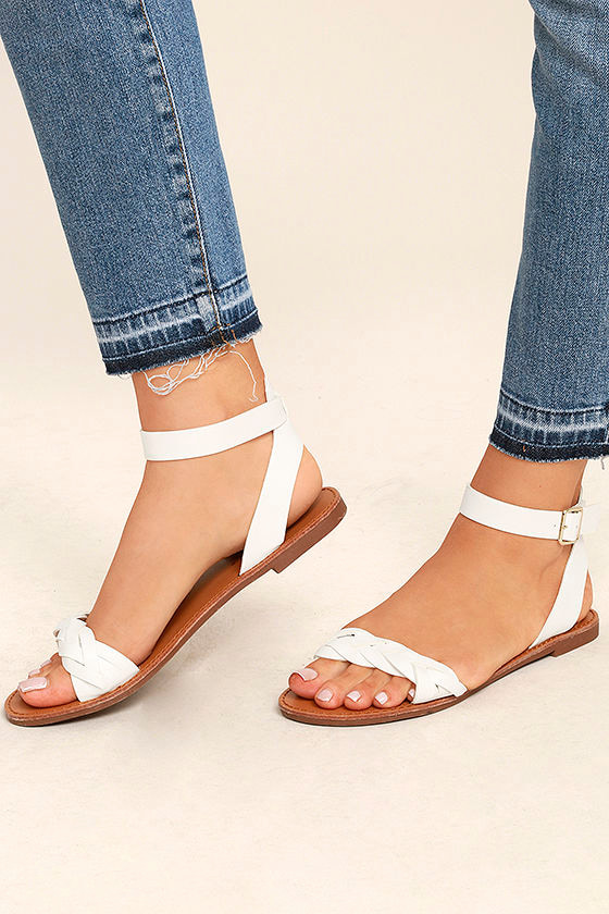 on feet images of promo code uk cheap sale Tinsley White Ankle Strap Sandals