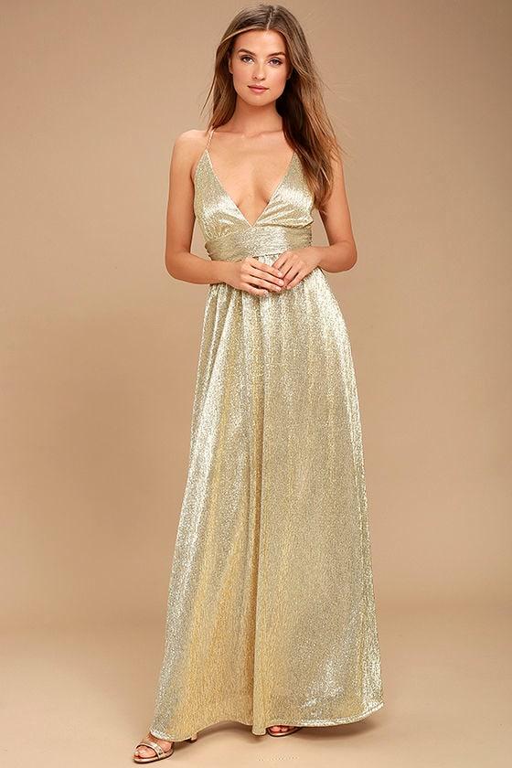 Gilded Goddess Gold Maxi Dress 1