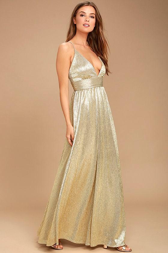 Gilded Goddess Gold Maxi Dress 2