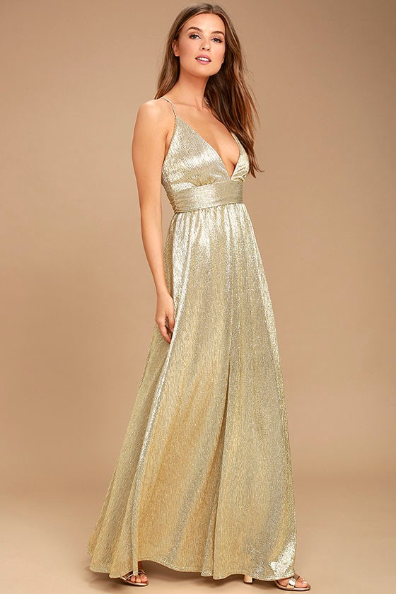 9cbf0ff120 Sexy Gold Dress - Maxi Dress - Gold Gown - Formal Gown -  116.00