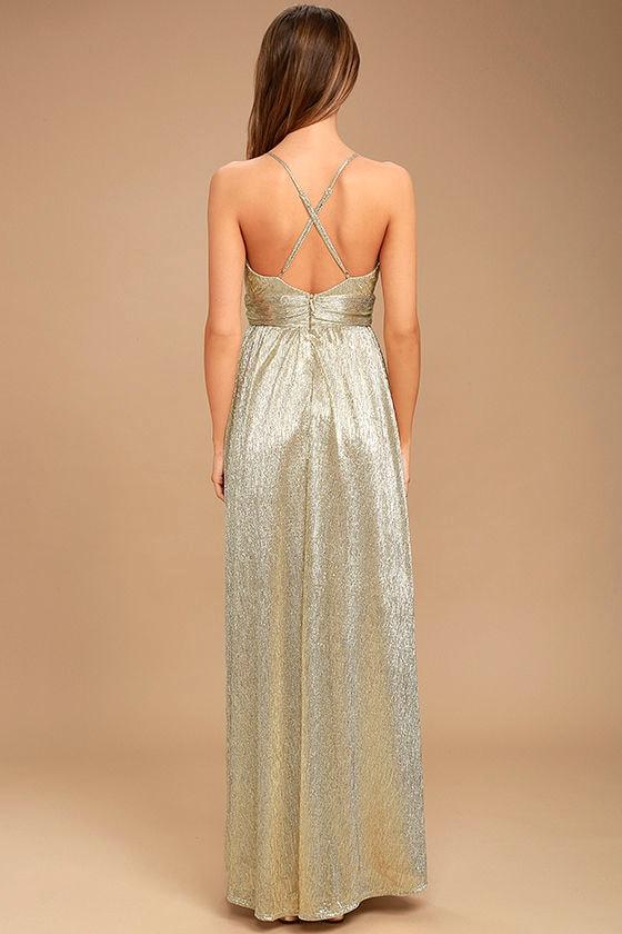 Gilded Goddess Gold Maxi Dress 4