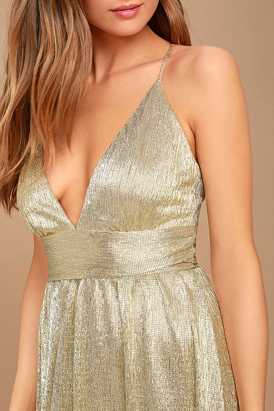 Gilded Goddess Gold Maxi Dress 5