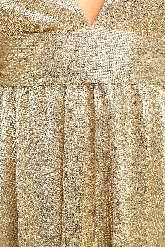 Gilded Goddess Gold Maxi Dress 6