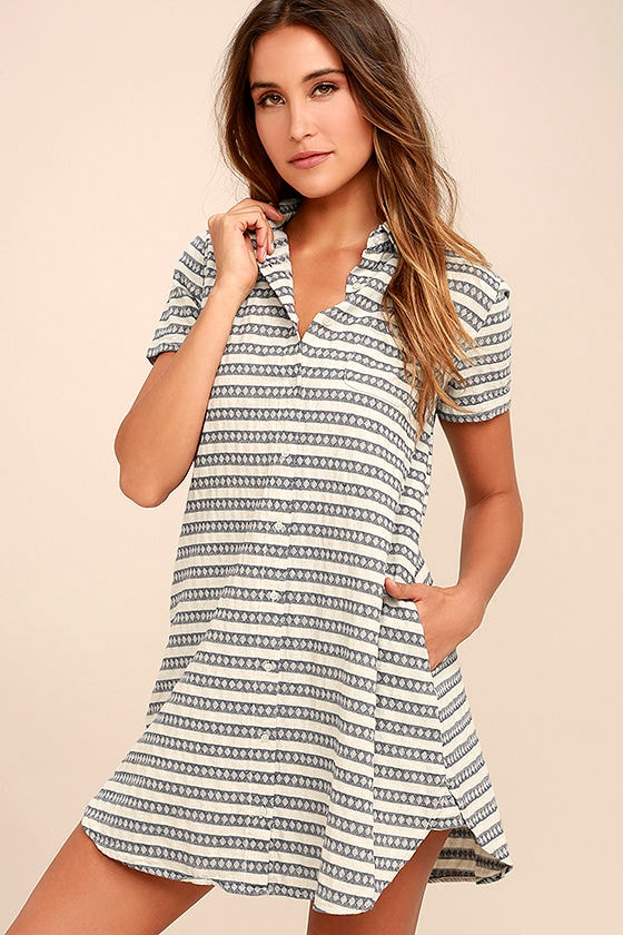 1a7988cf8a9c2 Cute Blue and Grey Dress - Striped Dress - Shirt Dress - $75.00