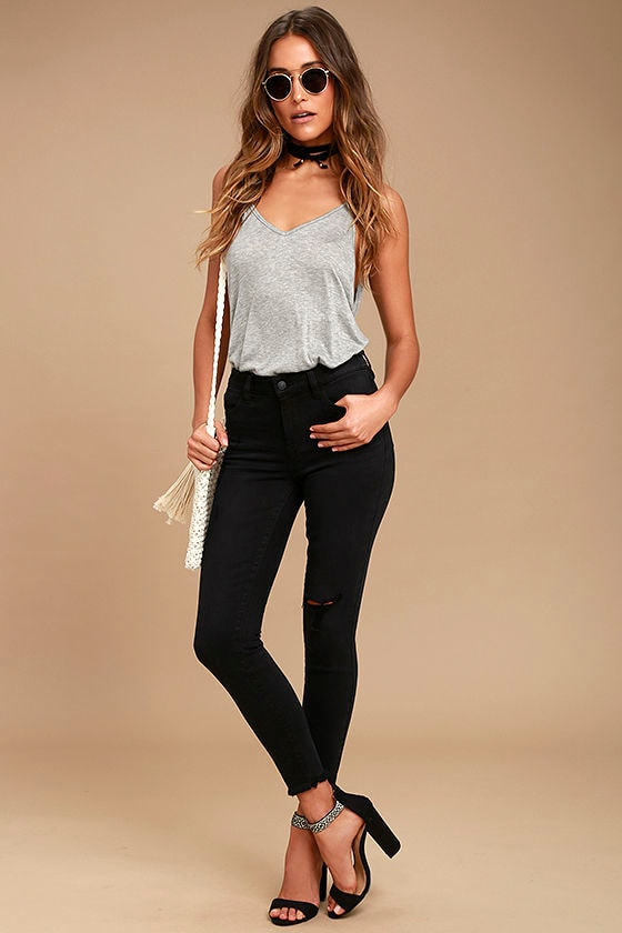 Clara Washed Black Distressed High-Waisted Skinny Jeans 1