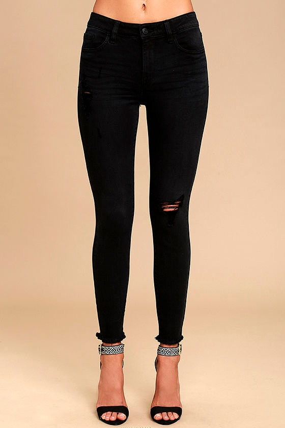Cool Washed Black Jeans - Skinny Jeans - Distressed Jeans - High ...