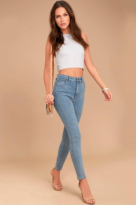 Rollas Eastcoast Staple Light Wash High-Waisted Skinny Jeans 1