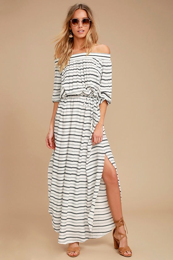 Faithfull the Brand Rae Black and White Striped Maxi Dress 1