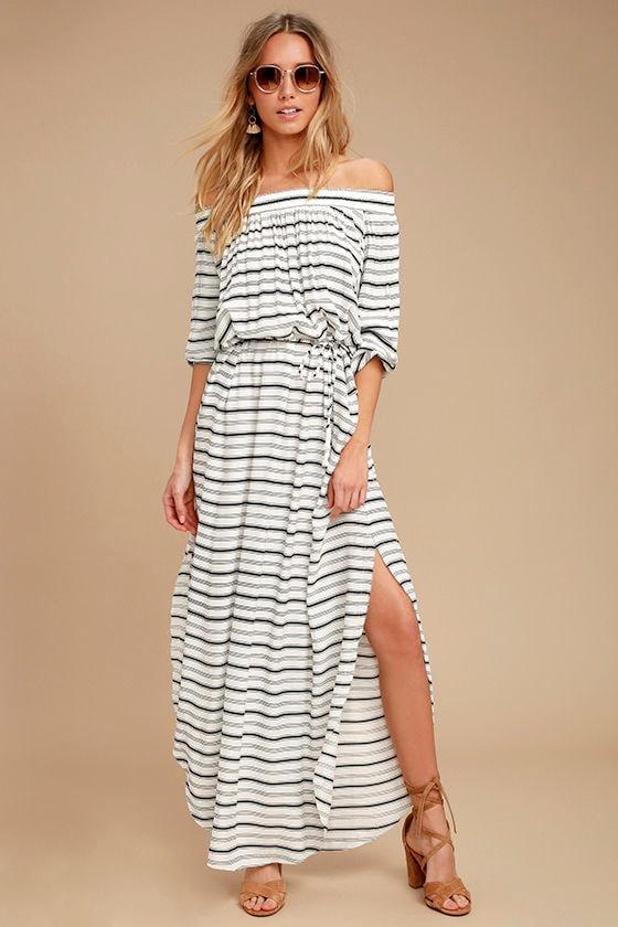 Faithfull the Brand Rae - Black and White Striped Dress - Maxi ...