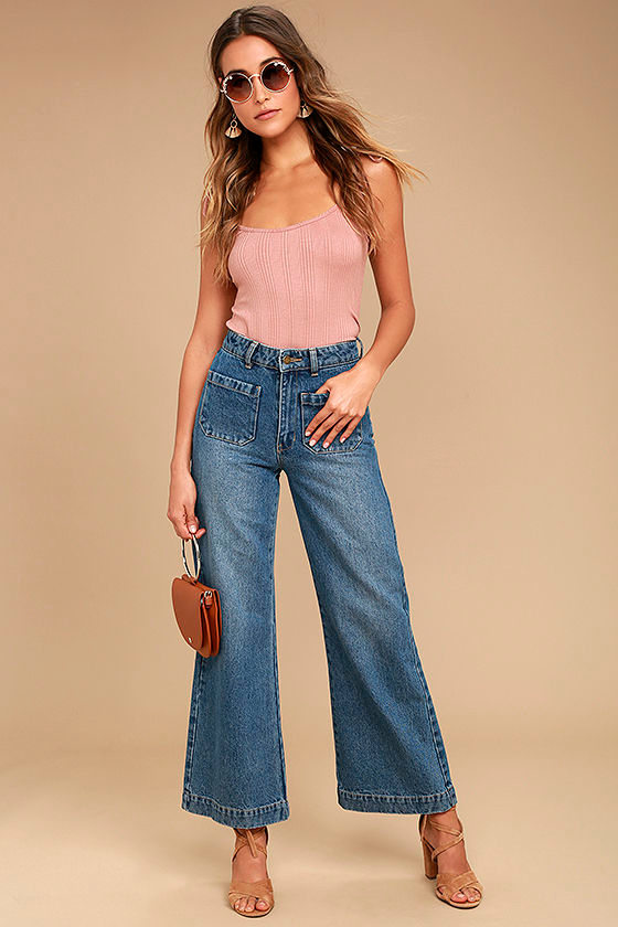 Rollas Sailor Flare Medium Wash High-Waisted Jeans 1