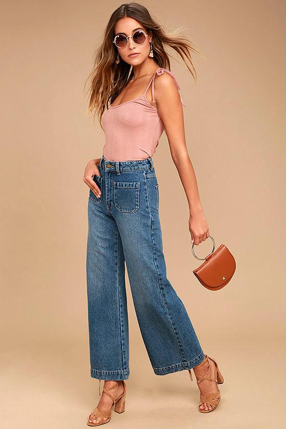 5d5c8630864f Rollas Sailor Flare - Medium Wash Jeans - Flare Jeans - Retro Jeans - $99.00