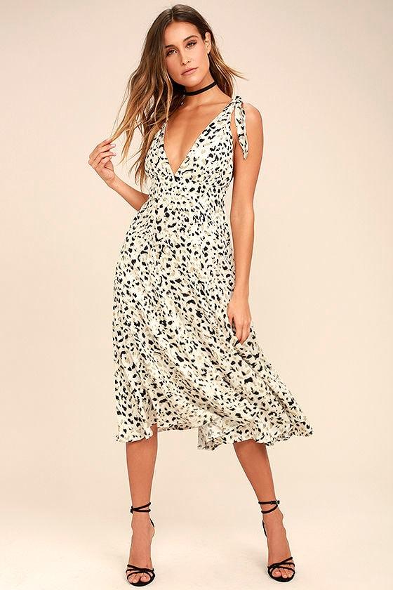 Mink Pink Sumatra Beige Leopard Print Midi Dress 1