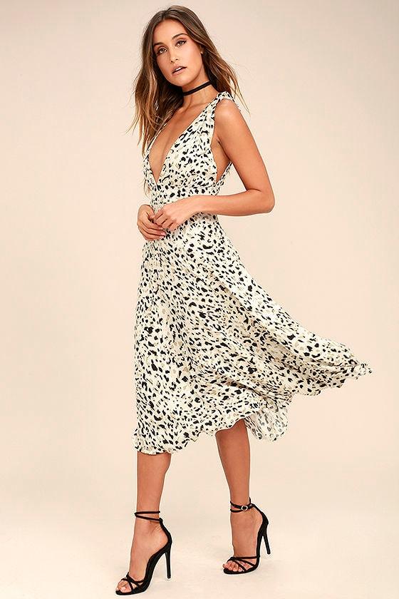 1a3437ae061 MINKPINK Sumatra - Chic Beige Dress - Leopard Print Dress - Midi Dress