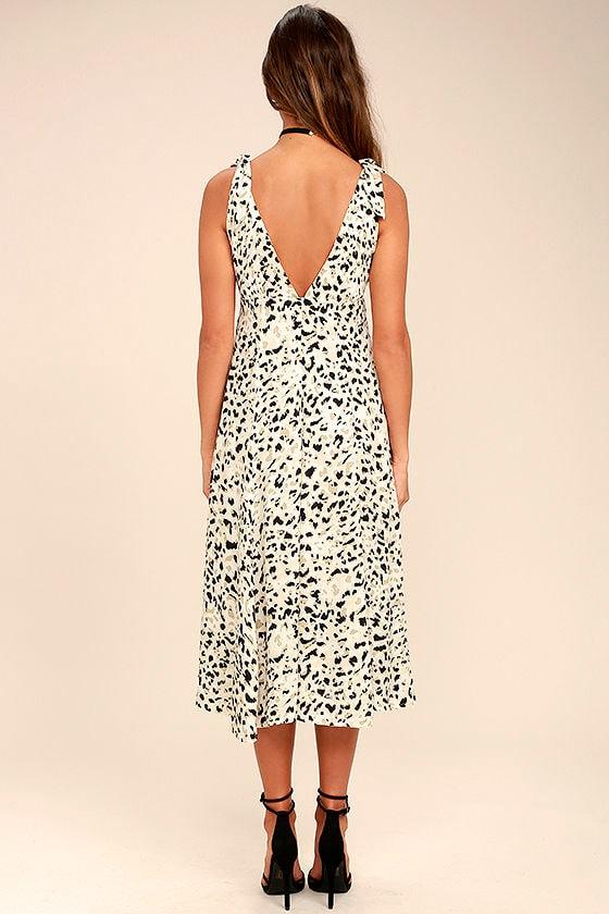 Mink Pink Sumatra Beige Leopard Print Midi Dress 4