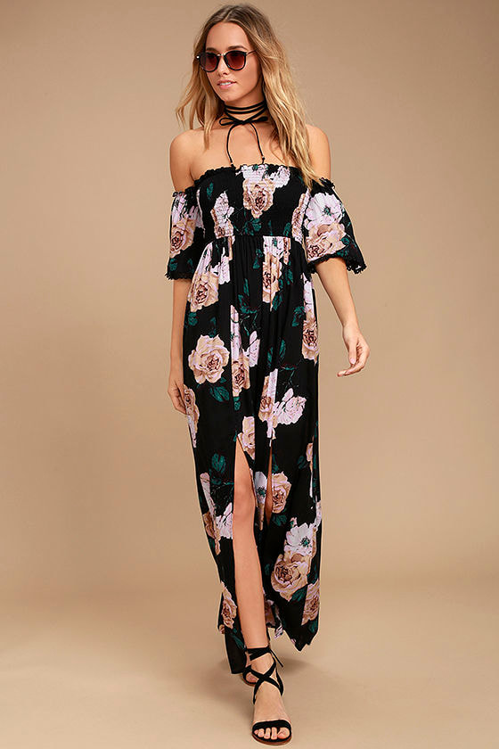 919bfb5d9f Darling Black Floral Print Dress - Off-the-Shoulder Dress - Maxi Dress -   67.00