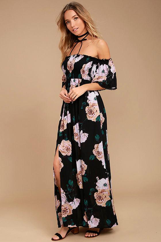 0e71ae353d13 Darling Black Floral Print Dress - Off-the-Shoulder Dress - Maxi ...