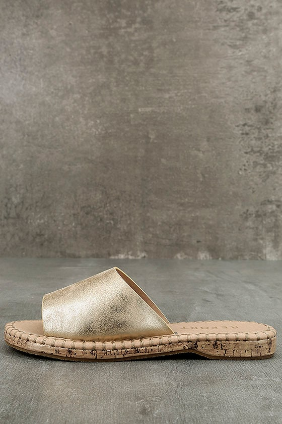 42473f0c8c278 Report Farrel - Gold Slide Sandals - Cork Slides - Gold Sandals -  40.00