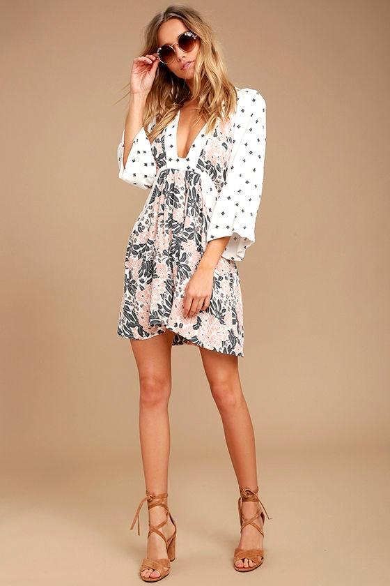 Free People Tallula White Print Long Sleeve Mini Dress 1