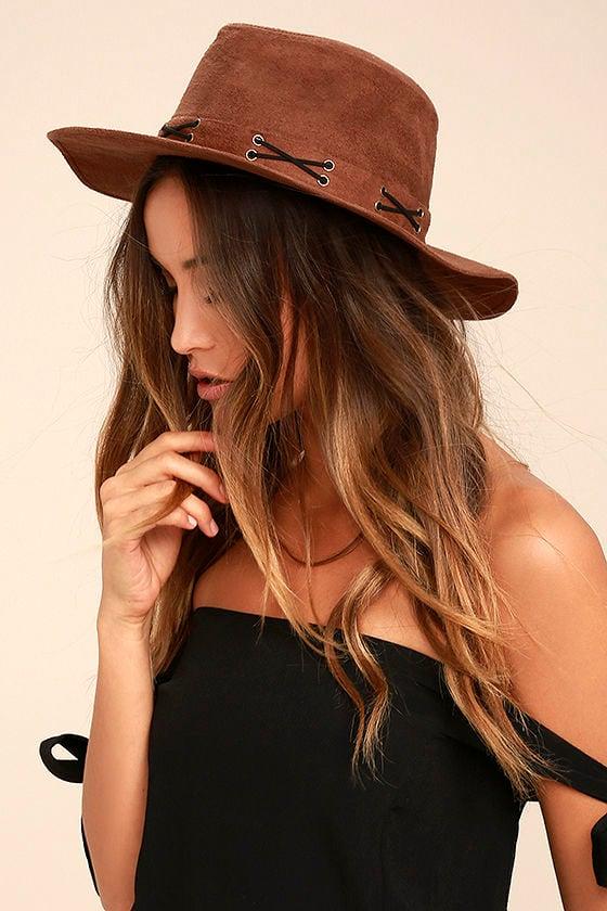 Cool Brown Hat - Vegan Suede Hat - Fedora Hat -  22.00 d87c05c31c2
