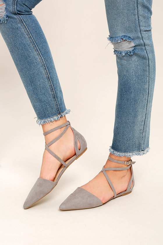 Rayna Grey Suede Pointed Flats 1