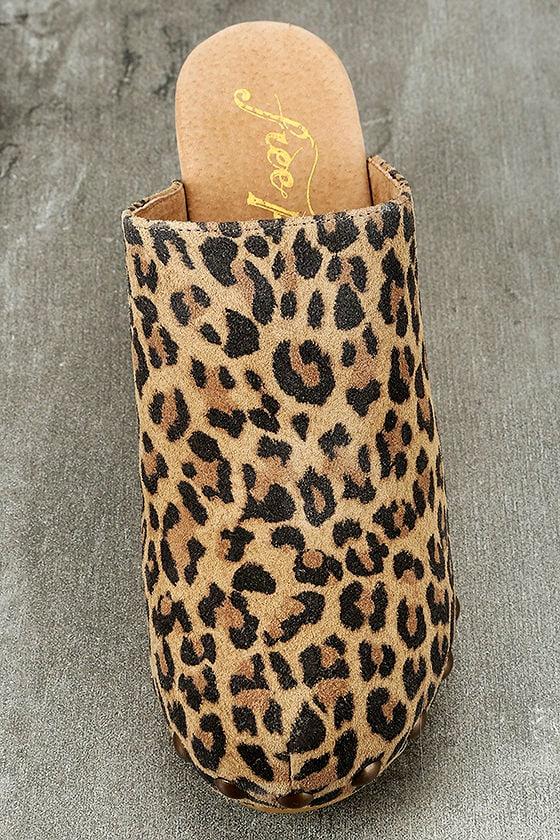 Free People Ring Leader Leopard Suede Leather Platform Clogs 5