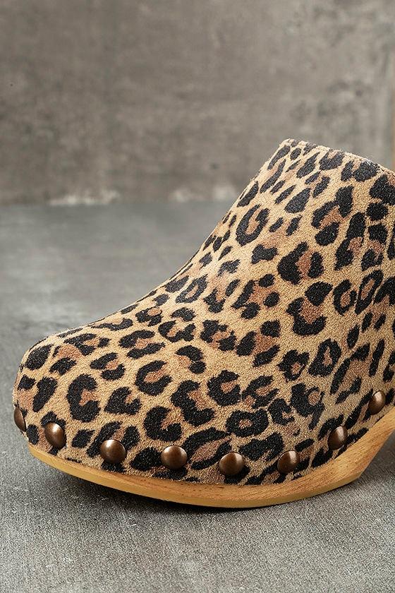 Free People Ring Leader Leopard Suede Leather Platform Clogs 6