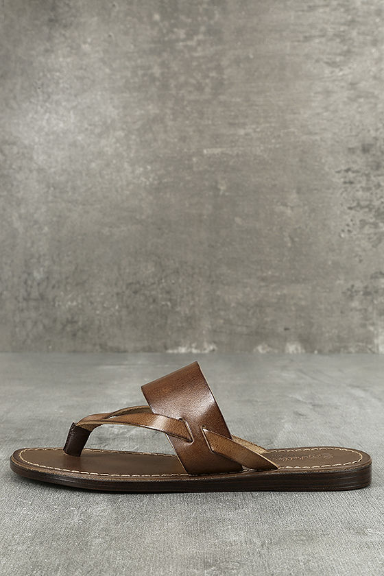 Seychelles Mosaic Brown - Leather Thong Sandals - Brown Wedge Sandals -   84.00