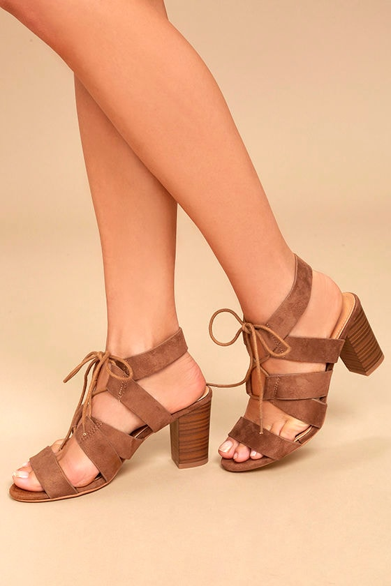 Jelena Camel Suede Lace-Up Heels 1