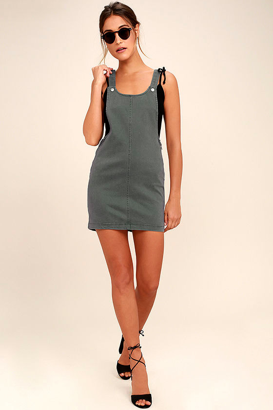 RVCA Oxley Grey Overall Dress 2
